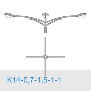 К14-0,7-1,5-1-1 консольный четырехрожковый кронштейн