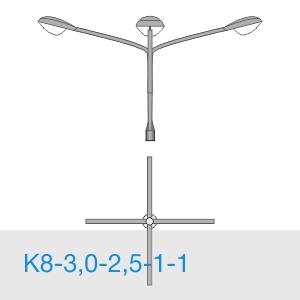 К8-3,0-2,5-1-1 консольный четырехрожковый кронштейн